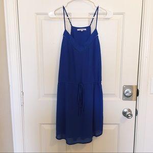 Naked Zebra royal blue drawstring chiffon dress